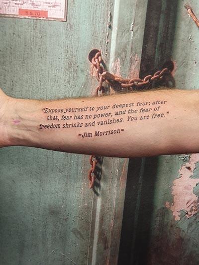 Tekst lettering tattoo jim morrison the doors